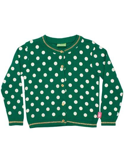 Image of   Astrid Cardigan Green/OffWhite DOTS