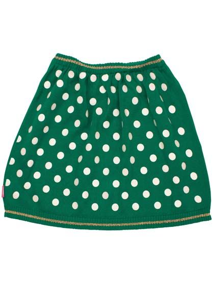 Image of   Agnes skirt Green/OffWhite DOTs