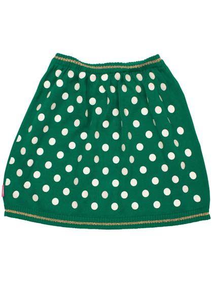Agnes skirt Green/OffWhite DOTs