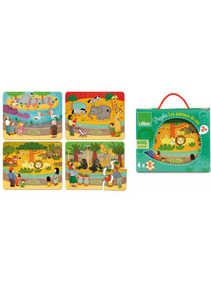 Image of   Room2Play Wooden Puzzle, Zoo 4x6pcs