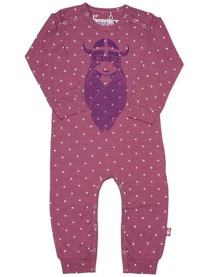 Image of   ORGANIC - Anis suit Prune/off white dots FREJA