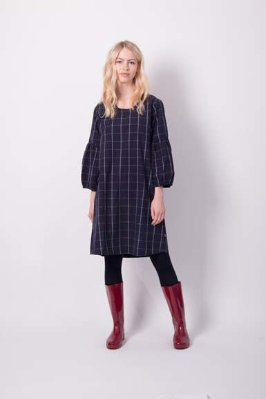 Caramella Plaid Dress Indigo/Off White Plaid