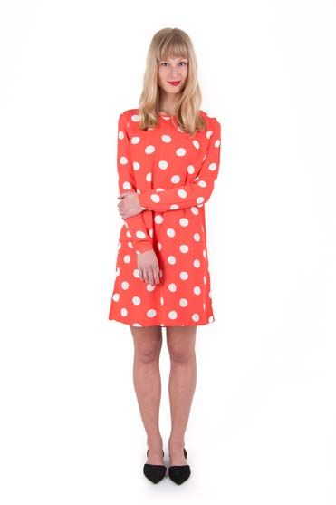 Sicily dress Coral/offwhite DOTS