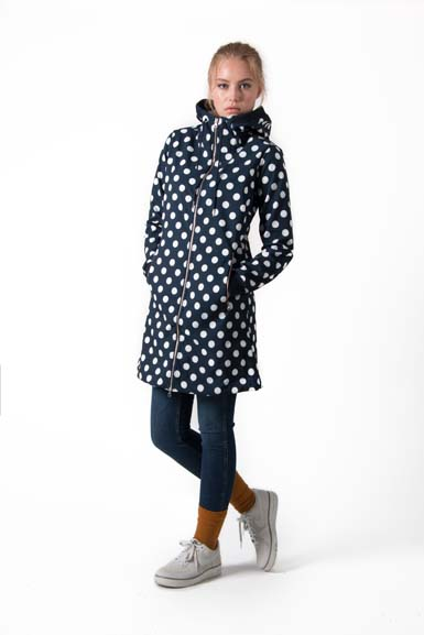 Image of   Jane Softshell Navy/Offwhite DOTS