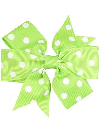 Hair bow DOTS Sprout grn