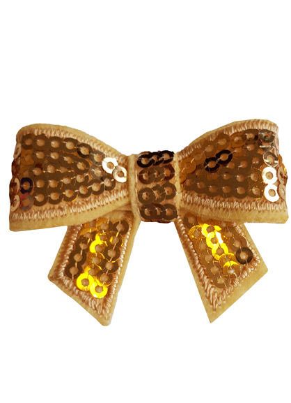 Sequin bow Gold