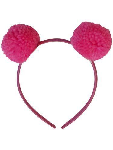 Pompom Hairband Fluo Pink
