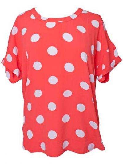 Ombra top Coral/offwhite DOTS