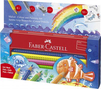 Faber Castell Jumbo Grip Gaveæske Fisk 8+1+Spidser