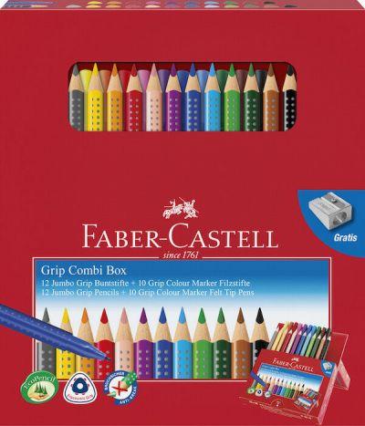 Faber Castell Jumbo Grip Kombiboks 10 Blyanter + 10 Tusser