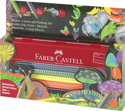 Faber Castell Tin Gaveæske 10 Neon + Metallic