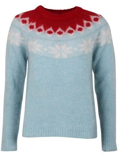 Fjeld Sweater Light Blue_Offwhite/Red