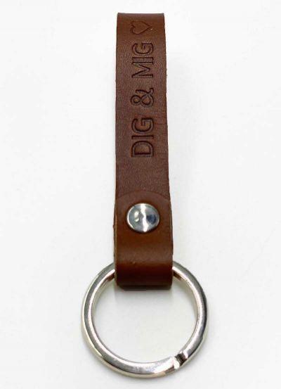 Danefæ Nøglering DIG & MIG Cognac/Sølv