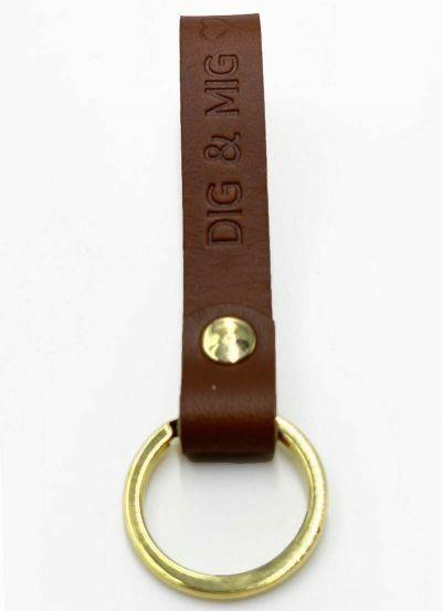 Danefæ Nøglering DIG & MIG Cognac/Guld