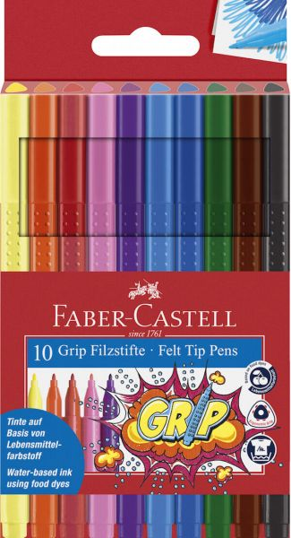 Faber Castell Tusser Grip 10 Stk Assorteret