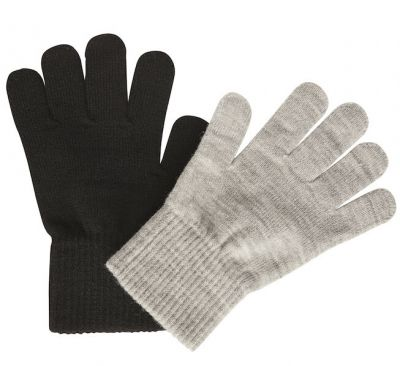 Melton 2-Pak Fingervanter Black/Grey