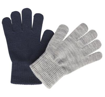 Melton 2-Pak Fingervanter Marine/Grey
