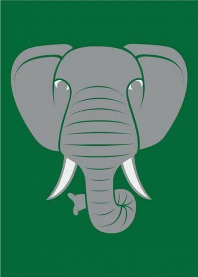 DYR Postcard Green ELEFANT