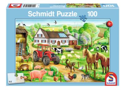 Schmidt Puzzle 100 Brk Merry Farmyard