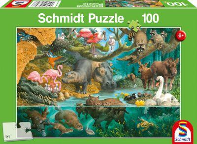 Schmidt Puzzle 100 Brk Tierfamilien am Ufer