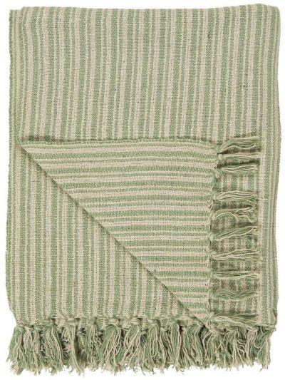 Ib Laursen Plaid Creme/Grøn stribemønster