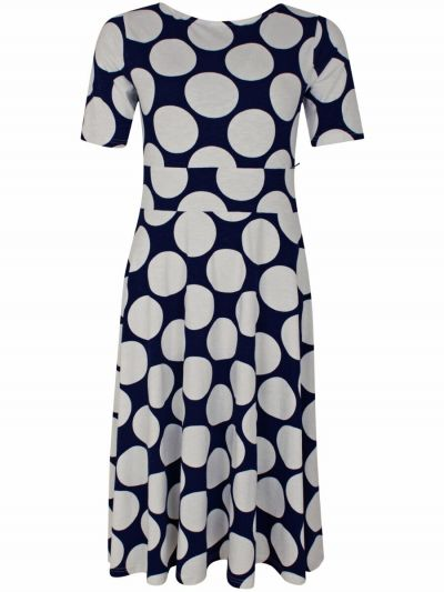 ORGANIC - Charlotte Dress Dusty navy/chalk MEGADOTS