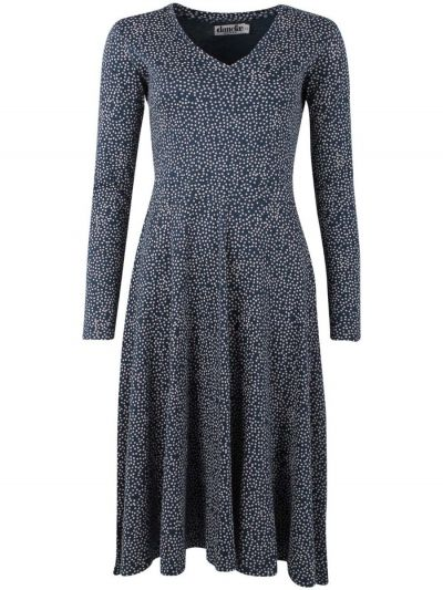 ORGANIC - Andreasen Dress Dusty navy/chalk MINI FUNDOTS