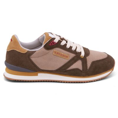 M.MOUSTACHE André Running Sneakers Suede Creme Khaki