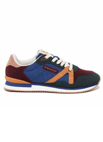 M.MOUSTACHE André Running Sneakers Suede Vert Bleu et Bordeaux