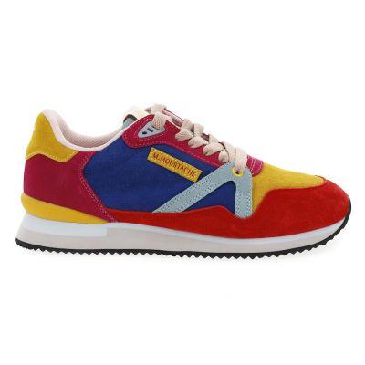 M.MOUSTACHE André Running Sneakers Suede Rose Jaune Bleu