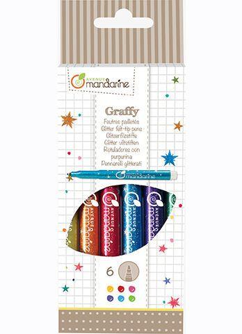 Avenue M Glitter Pens 6 PCS Felt Tip Multi