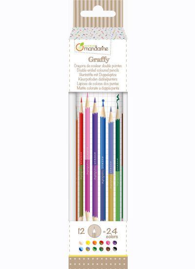 Avenue M Double Ended Colored Pencils 12 Pcs Multi