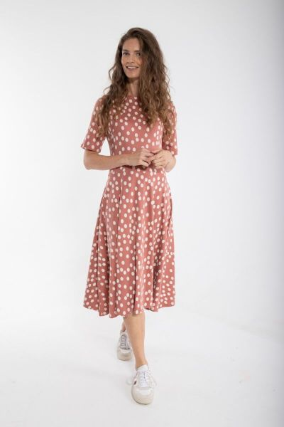 ORGANIC - Charlotte Dress Grey rose/chalk FUNDOTS