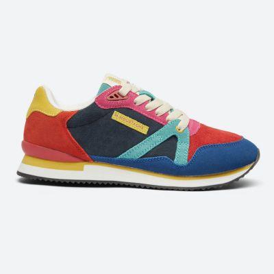 M.MOUSTACHE André Running Sneakers Suede Bleu Rouge Orange