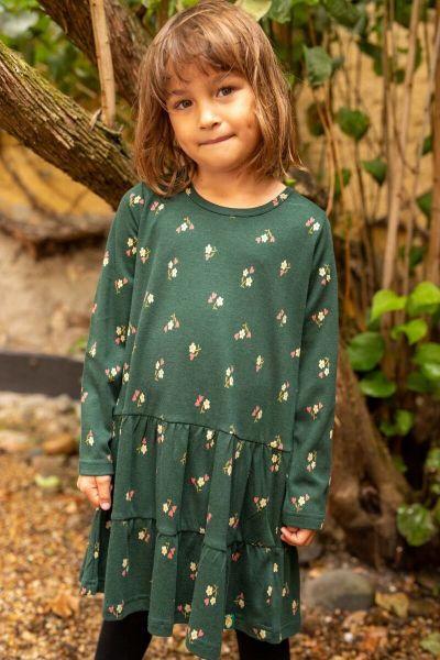Organic - Miva Dress Black Green MINIFLOWER