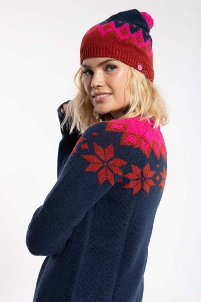 Country Beanie Navy_Rust/Hotpink