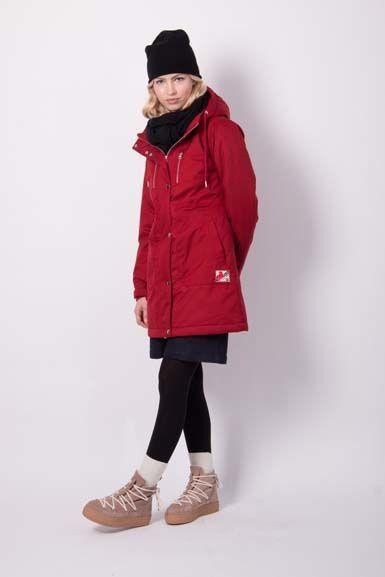Inge Winter Parka Dark Red (silver trim)