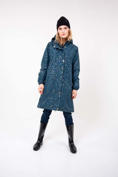 Edith Rainjacket Deep Ocean Gold CONFETTI