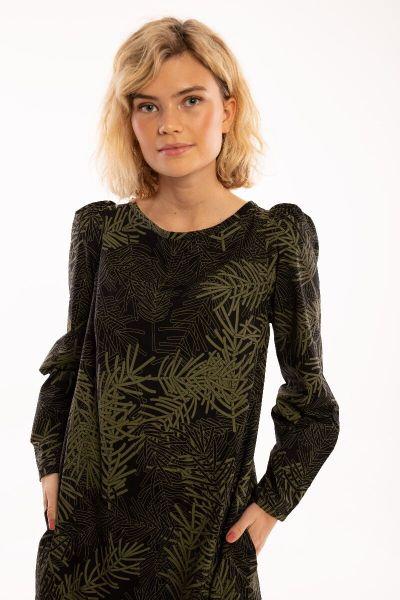 ORGANIC - Lund Dress Black/olive FINEPINE
