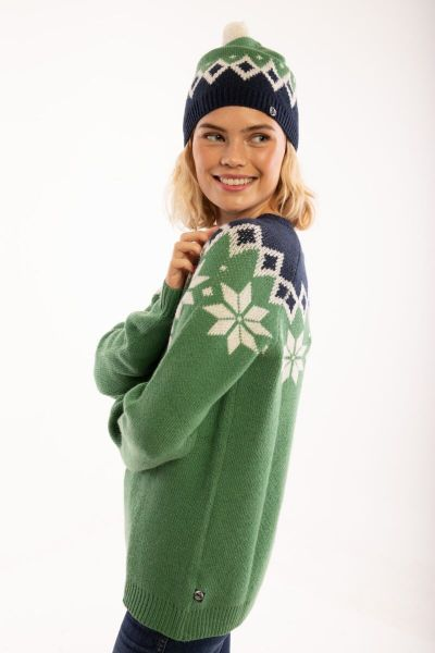 Country Beanie Green_Off White/Navy