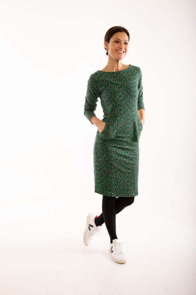ORGANIC - Maiken Dress Black/green FLEURIE
