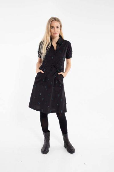Susanne Dress Black/Dark Duck MARKBLOMST