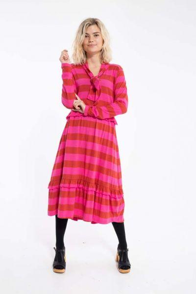 Opera Wool Dress Dk Rust/Hot Pink