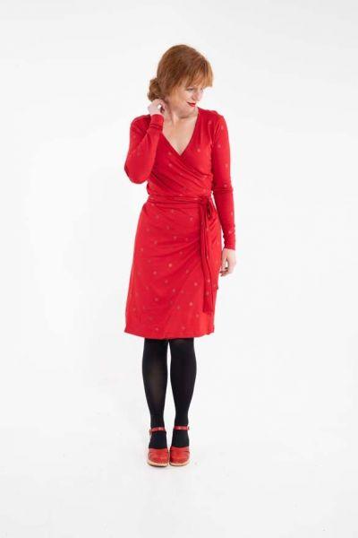 Regina Dress Red/Red Glitter SURPRISE DOTS