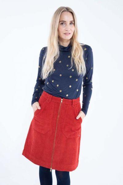 Madelaine Cord Skirt Dk Rust
