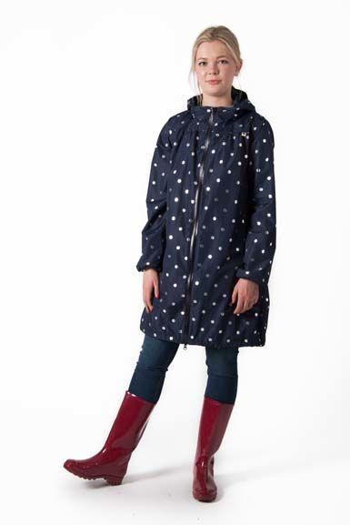 Helen Rainjacket Navy/silver dots