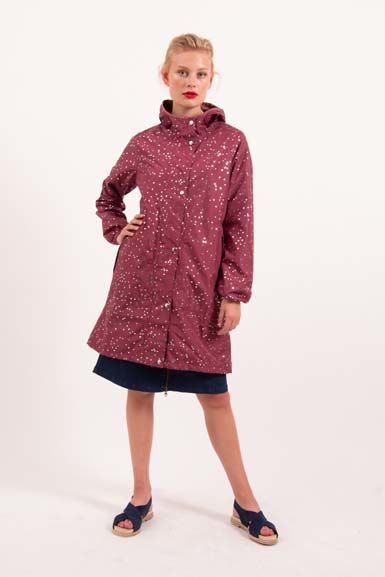 Edith Rainjacket Sweet Wine Silver CONFETTI