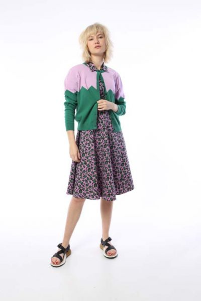 Olsen Cardigan Warm Viola/Hunter Green Glitter