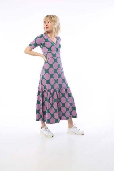 ORGANIC - Nougat Dress Hunter Green/Warm Viola MEGA DOT