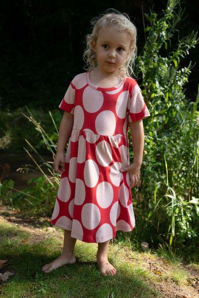 ORGANIC - Lollipop Dress Ribs/chalk MEGADOTS